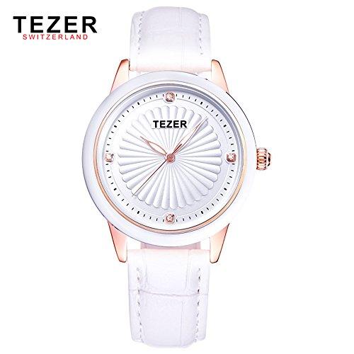 Tezer Fashion Frauen Wasserdicht Armbanduhr Echtes Leder Quarz Handgelenk Uhren t3053