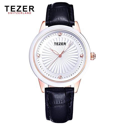 Tezer Fashion Damen Quarzuhr Echtes Leder Wasserdicht Handgelenk Uhren t3053