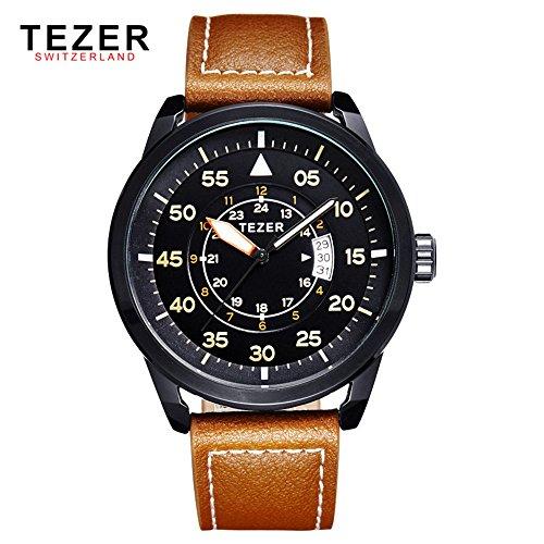 Tezer Fashion wasserabweisend Armbanduhr Sport Quarz Herren Handgelenk Uhren mit Big Zifferblatt T2015