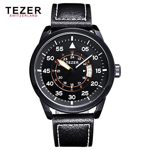 Tezer Fashion wasserabweisend Armbanduhr Sport Quarz Herren Handgelenk Uhren T2015