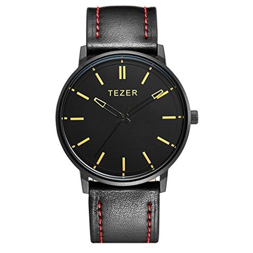 Tezer Lederband schwarz Fashion Quarz Handgelenk Uhren T5025