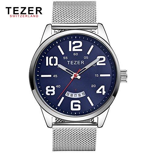 Tezer Herren Casual Armbanduhr T5024 mit Blau Zifferblatt Edelstahl Stahl
