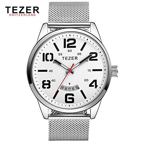Tezer Herren Casual Armbanduhr T5024 mit weissem Zifferblatt Edelstahl Gurt