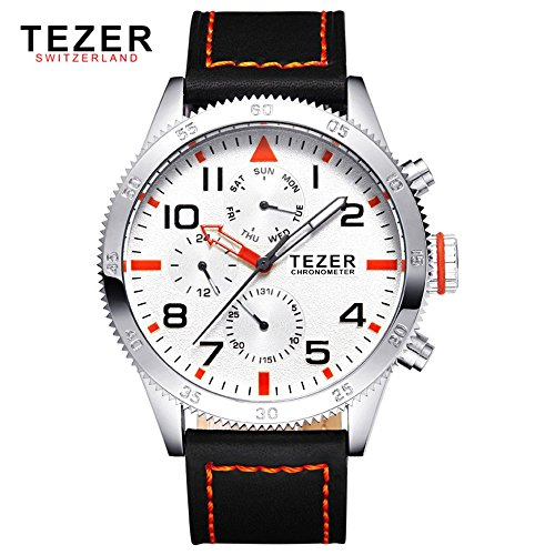 Tezer zudem Herren Quarz Uhren wasserdicht Multifunktions Swiss Band Handgelenk Uhren T2051