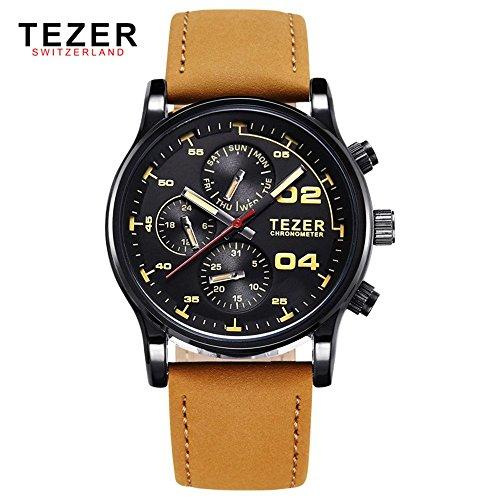 Tezer Herren Quarz Uhren wasserdicht Multifunktions Swiss Band Handgelenk Uhren T2050