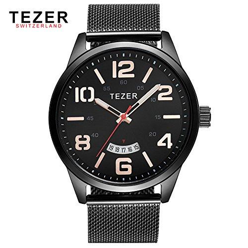 Tezer Herren Casual Uhren T5024 mit Schwarz Zifferblatt Edelstahl Stahl Armbanduhr