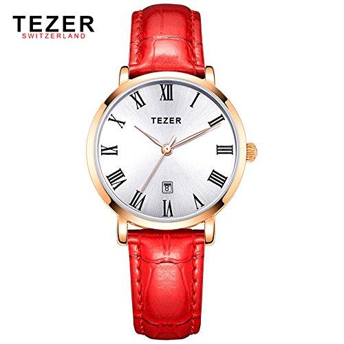 Tezer Rot Leder Strap Fashion Quarz Handgelenk Uhren t3051