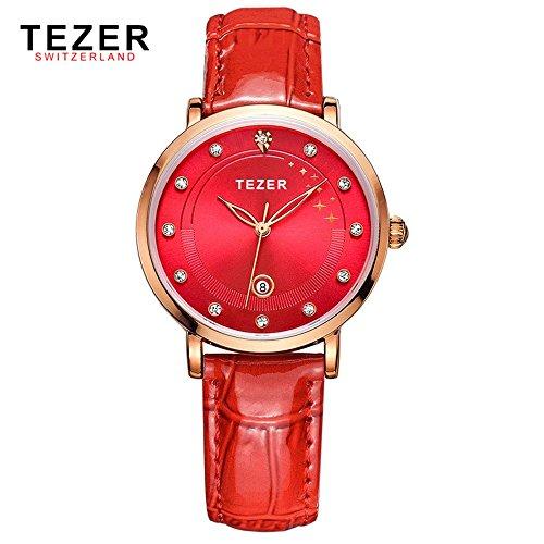 Tezer Damen Fashion Uhren Quarz Wasserdicht Armbanduhr T3050