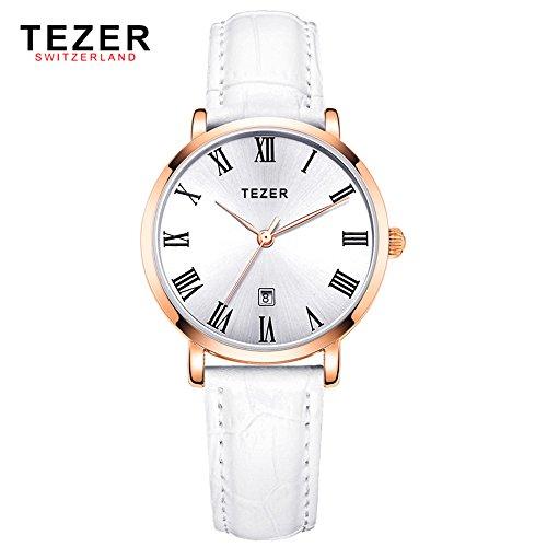 Tezer Lederband Fashion Quarz Handgelenk Uhren t3051