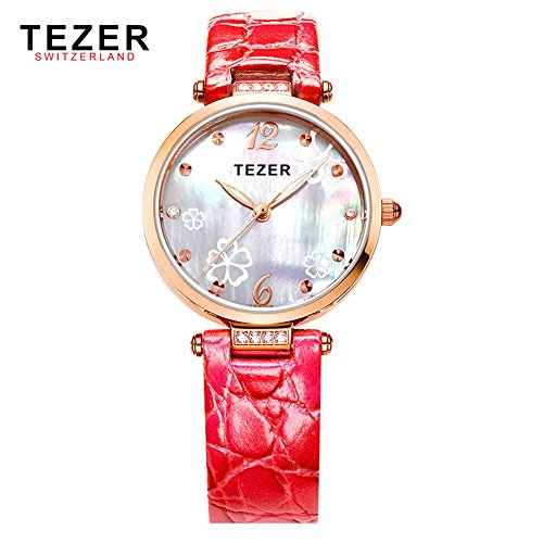 Tezer Fashion Armbanduhr wasserabweisend Damen Handgelenk Uhren rot Starp T2014
