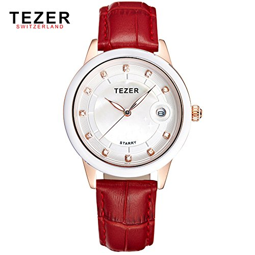 Tezer New Fashion Damen Echtes Leder Rot Band Handgelenk Uhren t3052