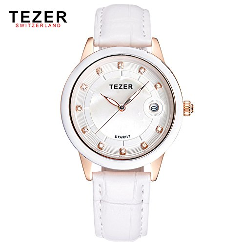 Tezer New Fashion Damen Echtes Leder Handgelenk Uhren t3052