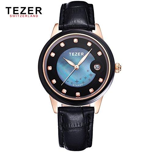 Tezer New Fashion Damen Echt Leder Schwarz Band Handgelenk Uhren t3052