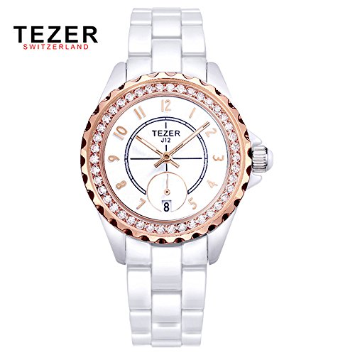 Tezer New Fashion Damen Uhren Quarz Armbanduhr mit rosa Ton T5002