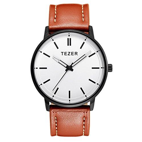 Tezer Braun Lederband Fashion Quarz Handgelenk Uhren T5025
