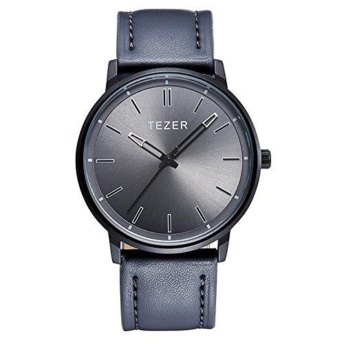 Tezer Grau Lederband Fashion Quarz Handgelenk Uhren T5025