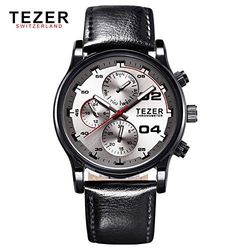 Tezer Quarz Wasserdicht Multifunktions Handgelenk Uhren T2050