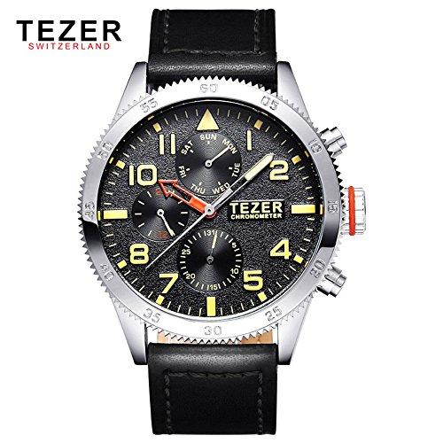 Tezer zudem wasserdicht Multifunktions Schweizer Band Quarz Handgelenk Uhren T2051 T2051 2