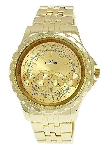 Massive NY London Militaer Uhr XXL Fliegeruhr mit Datum in Gold inkl Uhrenbox