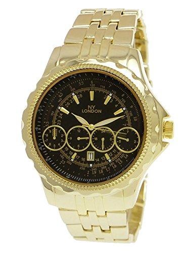 Massive NY London Militaer Uhr XXL Fliegeruhr mit Datum in Gold Schwarz inkl Uhrenbox
