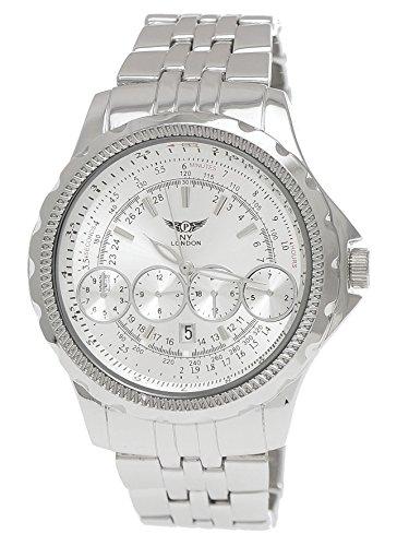 Massive NY London Militaer XXL Fliegeruhr mit Datum in Silber inkl Uhrenbox