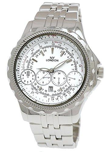 Massive NY London Herren Militaer Uhr XXL Fliegeruhr mit Datum in Silber Weiss inkl Uhrenbox