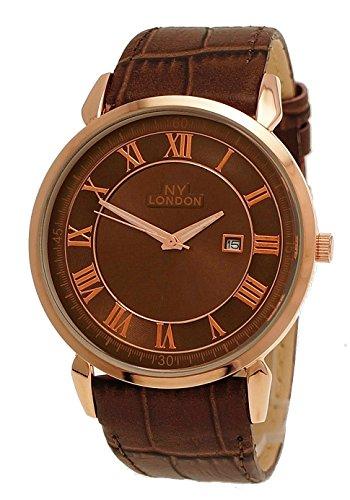 NY London designer Slim Herren Leder Armband Uhr Braun Rose Gold mit Datum super flach inkl Uhrenbox