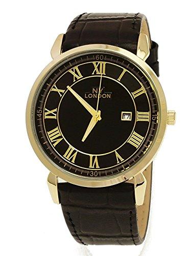 NY London designer Slim Herren Leder Armband Uhr Schwarz Gold mit Datum super flach inkl Uhrenbox