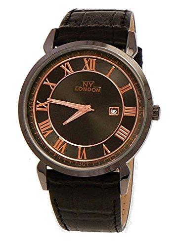 NY London designer Slim Herren Leder Armband Uhr Schwarz Rose Gold mit Datum super flach inkl Uhrenbox