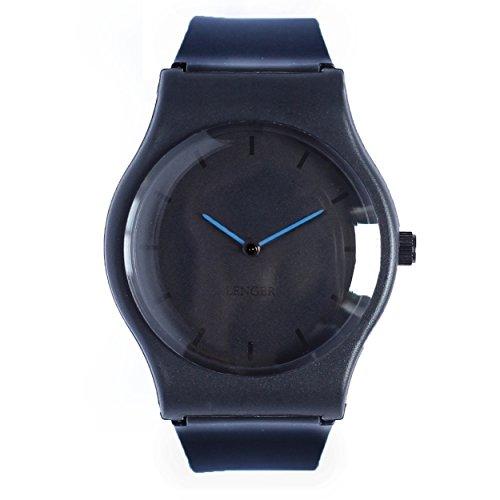Analog Uhr Lenger Quarz Einfach Minimalistisch Wasserdicht Blau