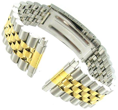 16 22 mm Kreisler Rolex Typ Center Schliesse Silber und Gold Tone Metall Band