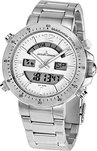 Jacques Lemans Unisex Armbanduhr Milano Analog Digital Edelstahl 1 1713D