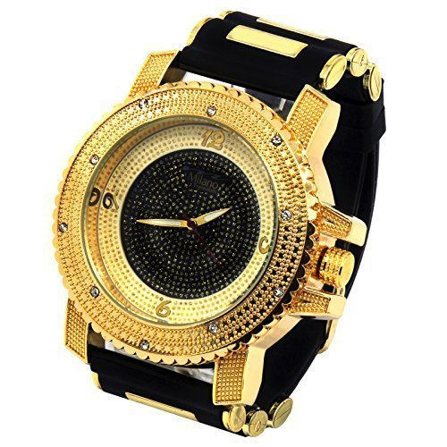 Voellig Iced Out Pave Milano gold Ton BK Hip Hop Bling Bling Uhren Silikon Band