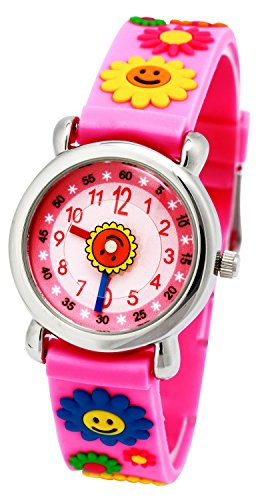 tonnier Kinder Uhren 3D Cartoon Rosa Gummi Band Colorful Sonnenblumen Kinder Uhren fuer Maedchen