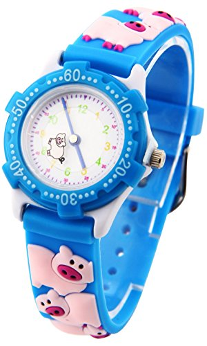tonnier Kinder Uhren blau 3D Cartoon Gummi Band Little Pink Schweine Kinder Uhren fuer Kinder
