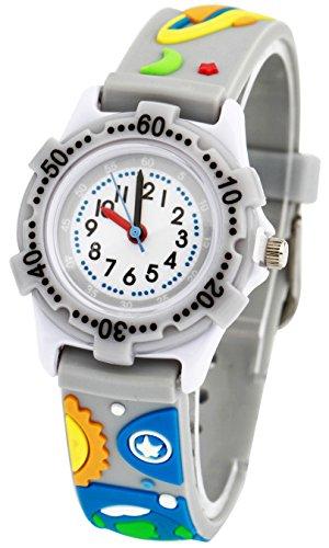 tonnier Kinder Uhren 3D Cartoon grau Gummi Band riesengrosse Universe Kinder Uhren fuer Kinder