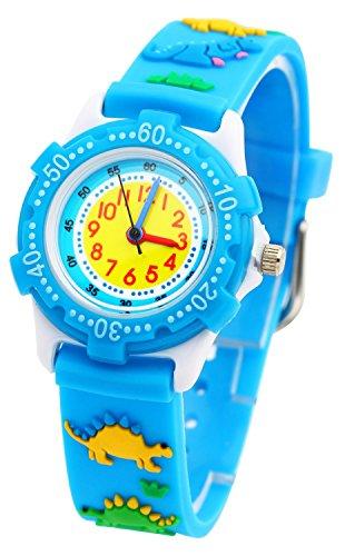 tonnier Kinder Uhren blau 3D Cartoon Gummi Band verschiedene Dinosaurier Kinder Uhren fuer Kinder