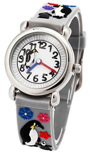 tonnier 3D Kinder Uhren Gesundes Material grau Gummi Band Kinder Uhren Pinguin