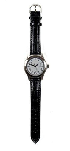 Monte Carlo Black Armbanduhr Lederband Hochwertiges Quarzlaufwerk fuer Damen