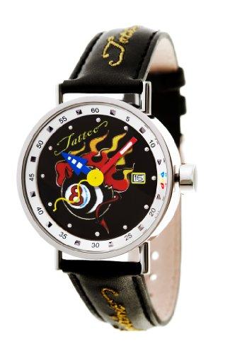 PopTime Edelstahl Uhr Tatto Motiv 8Ball Billiard Flammen