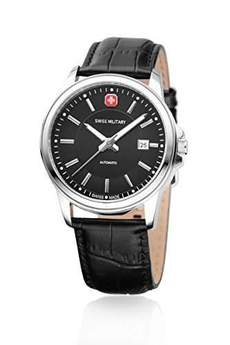 Swiss Military Automatic Herrenuhr Armbanduhr 03-12967 JBKDH Swiss Made Automatik Gehaeuse Edelstahl Band Leder Zifferblatt schwarz