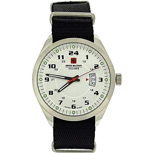 SWISS MILITARY SM06-4T1W Trooper Herren-Sportarmbanduhr mit schwarzem Nylonarmband
