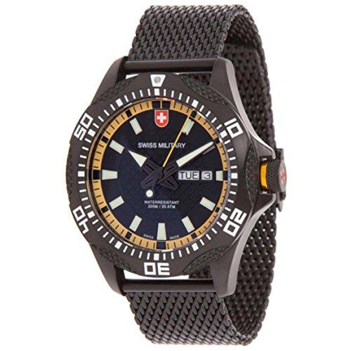 Swiss Military Army Herren Armbanduhr 44mm Armband Vergoldetes Edelstahl Schwarz Schweizer Quarz 2744
