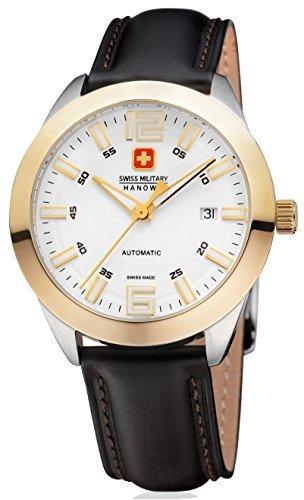 Swiss Military Hanowa Pegasus Herrenuhr Armbanduhr 05 4185 55 001 Swiss Made Saphirglas Gehaeuse Gelbgold Edelstahl bicolor Zifferblatt weiss gold Lederband schwarz