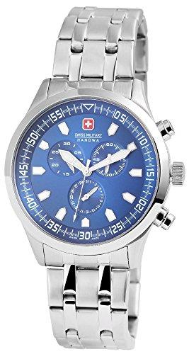 Swiss Military Uhr Silberfarbig Edelstahlgehaeuse 44mm x 11mm Edelstahlarmband Silberfarbig 20cm x 22mm Faltschliesse Ziffernblatt Blau Datumsanzeige Stoppuhr 06 5264 04 003