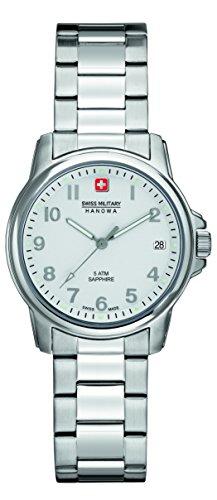 Swiss Military Swiss Soldier Lady Prime Damen Quarzuhr mit Silber Zifferblatt Analog Anzeige und Silber Edelstahl Armband 6 7231 04 001