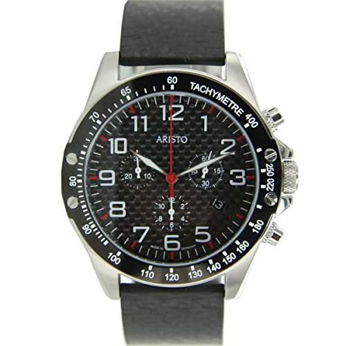 Aristo Herren Uhr Chronograph Carbon Edelstahl Trophy Spange 4H157