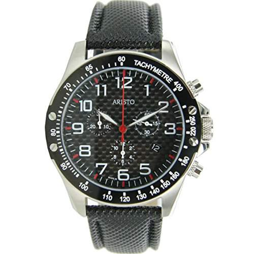 Aristo Herren Uhr Chronograph Carbon Edelstahl Trophy 4H158