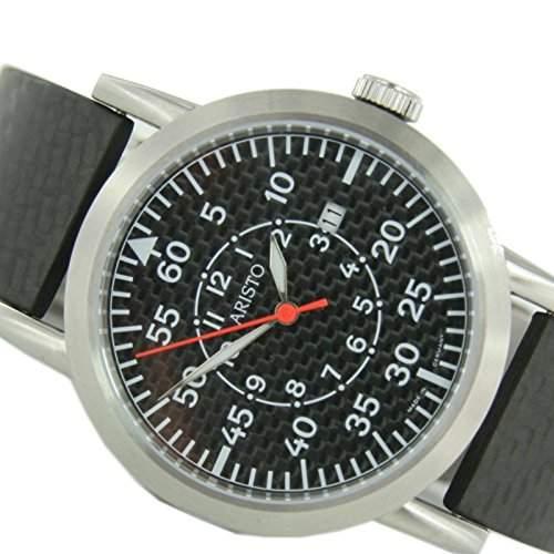 Aristo Herren Uhr Edelstahl Carbon Quarz 7H80QSC