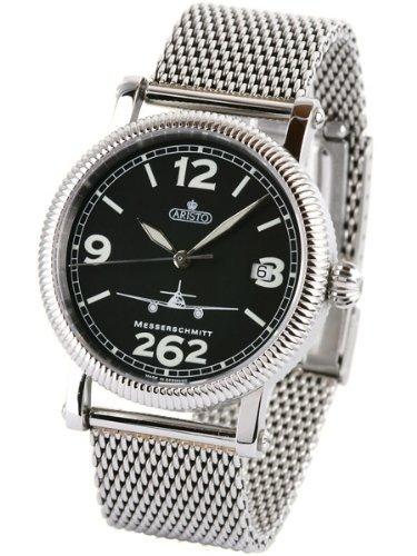 Aristo 4h262 tt Aviator Automatik Uhr mit Mesh Armband und Kristall Saphir